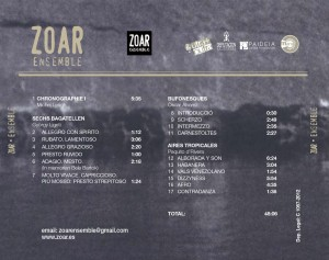 Trasera cd Zoar Ensemble